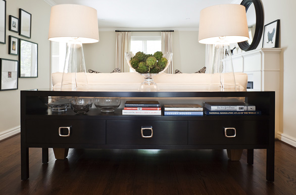 Perfect Modern Living Room Design With Gorgeous Glossy Black Buffet Console Table  With Chrome Pulls,