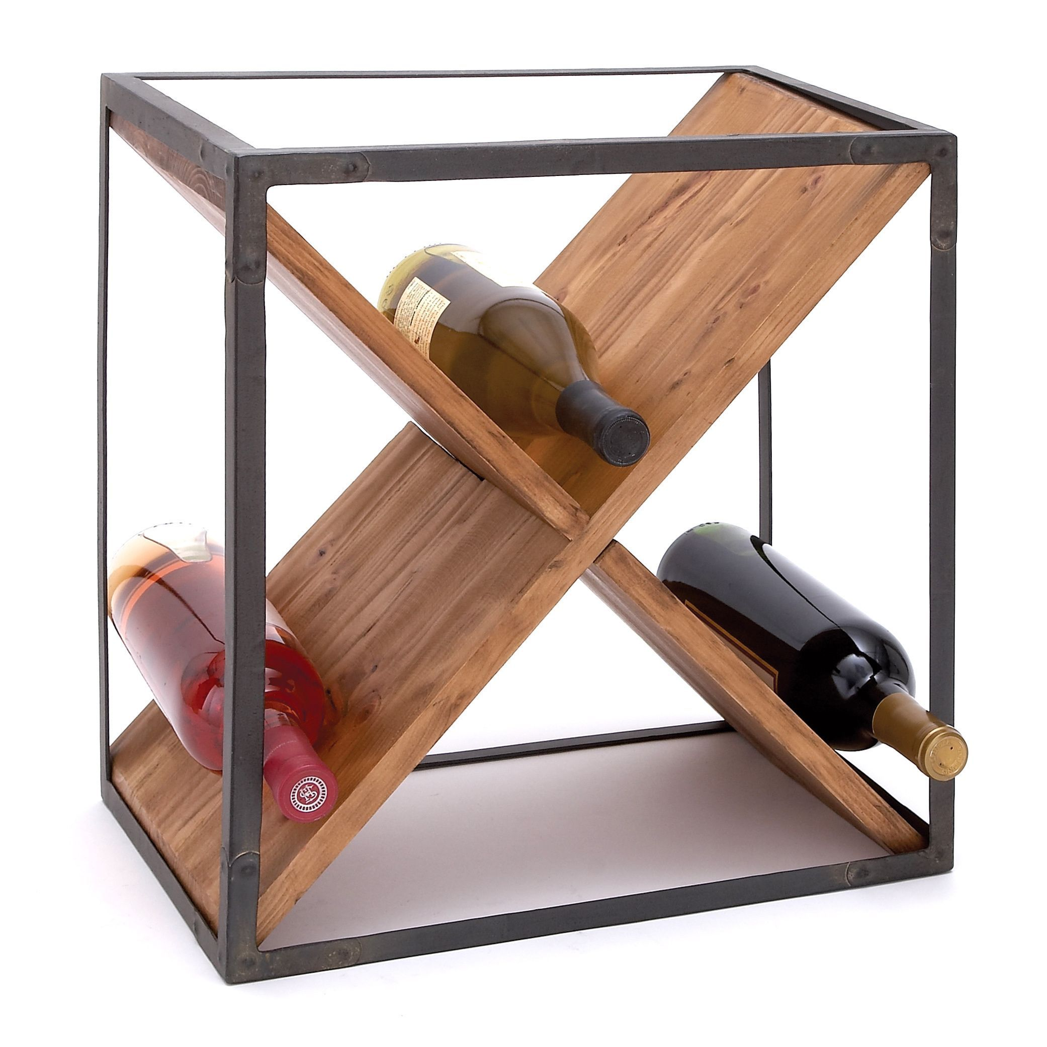 Modern 16 X 15 Inch Square Metal And Wood Wine Rack By Studio 350 Wood Wine Racks Table Top Wine Rack Wine Bottle Storage