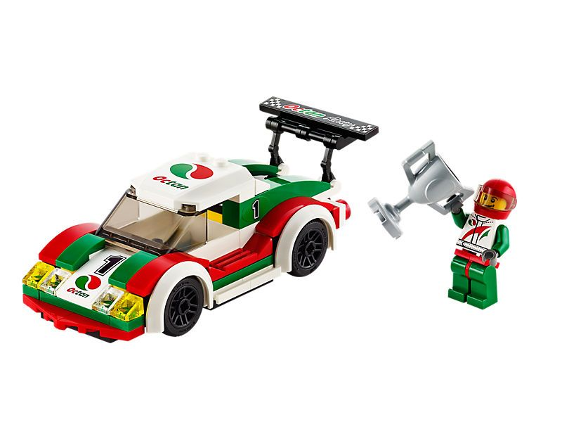Set the spoiler, put on the racing helmet and speed to victory in the cool  LEGO® City Race Car to claim the big winner's trophy!