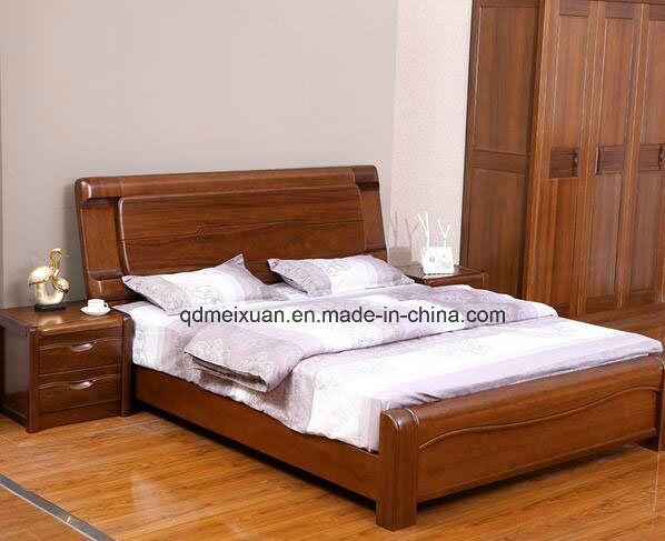 Cama de madera maciza modernas camas dobles m x2349 for Camas modernas matrimoniales