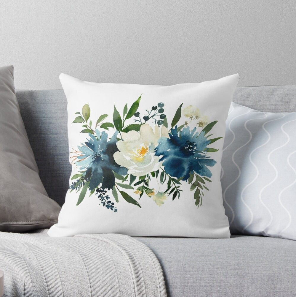 Pin By Neinahpets On Redbubble Floral Watercolor Floral Bouquets Throw Pillows
