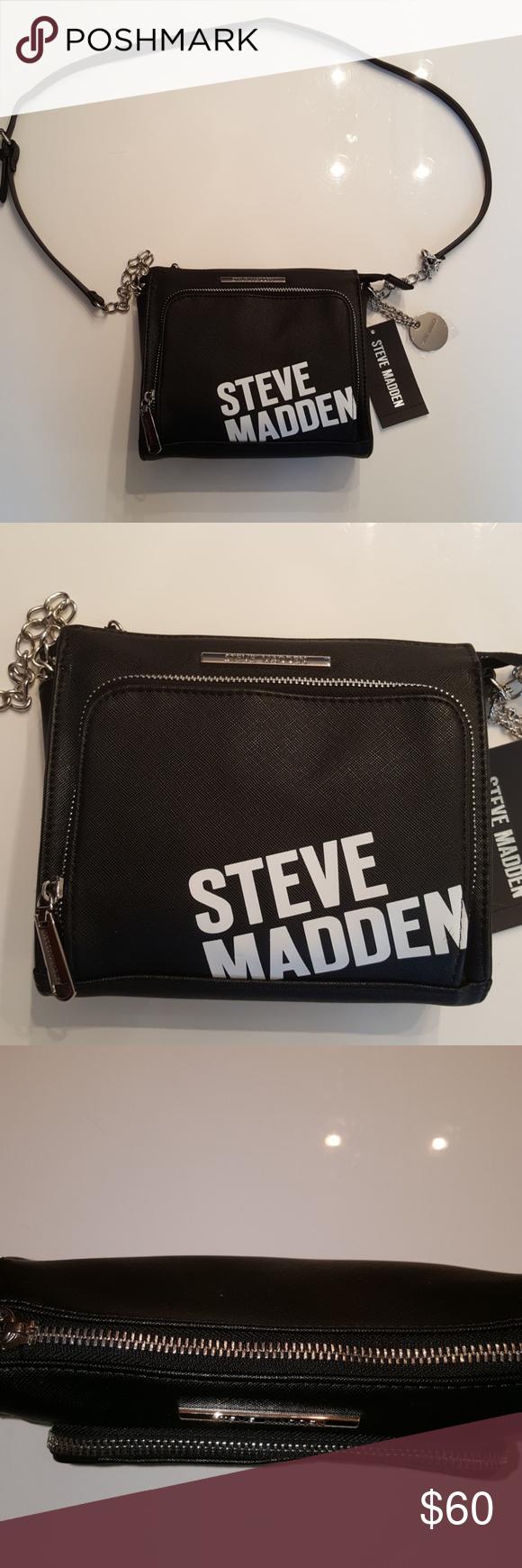 Steve Madden Black Bgrange Logo Crossbody Purse Steve Madden Black Bgrange Logo Crossbody Purse Black Faux Leather Purses Crossbody Steve Madden Crossbody