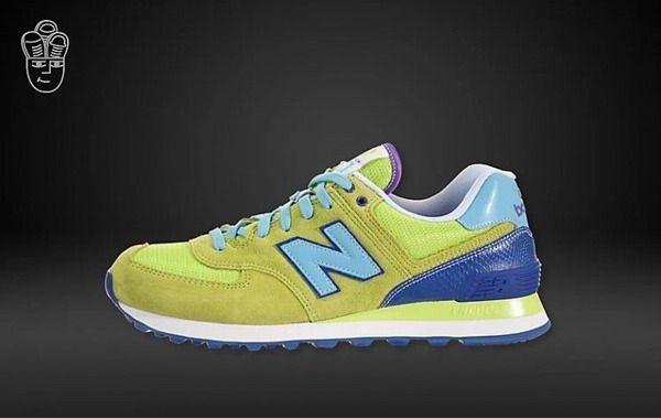 Joes New Balance 574 WL574BFG Yellow Lime Green Purple Womens Shoes