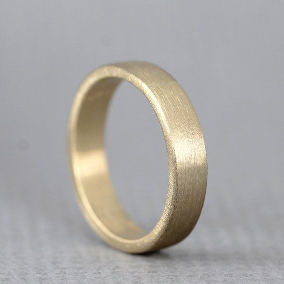 Yellow Gold Mens Wedding Band 14K Yellow Gold Matte Finish