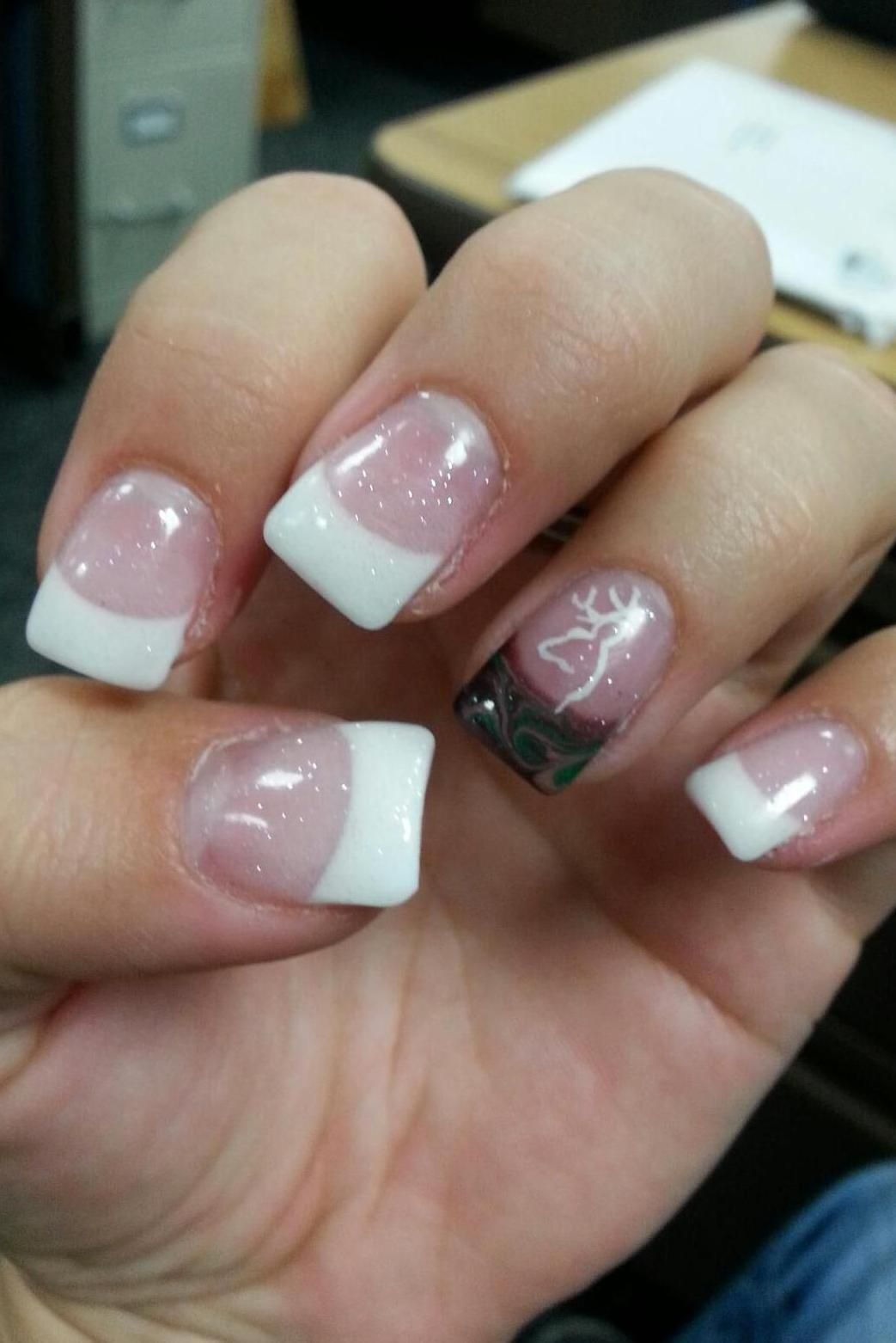 Classy white tips and a Camo accent nail with the Browning symbol ...
