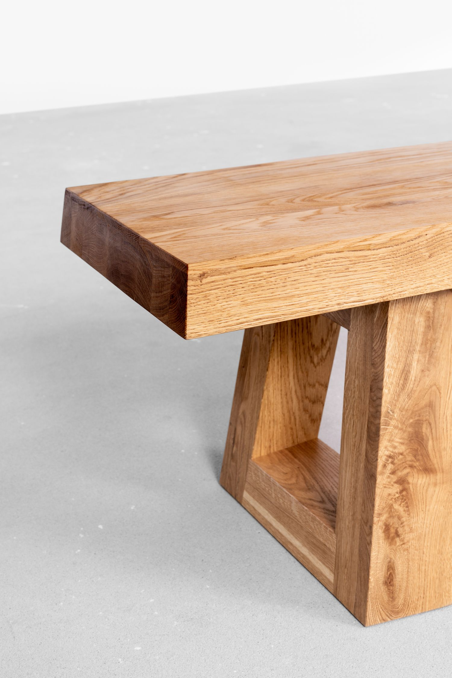 Wooden Modern Oak Bench - Raw