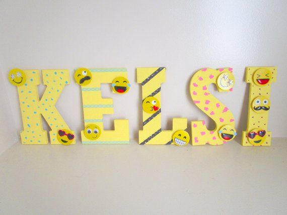 Emoji Name Letters, Kids Letters, Emoji Room Decor, Kids Room Decorations,  Unisex Kids Painted Lette
