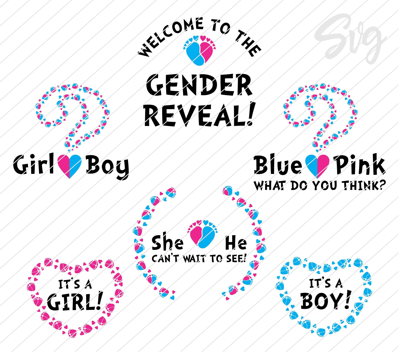 He or She Gender Reveal svg bundle Baby feet in shape of