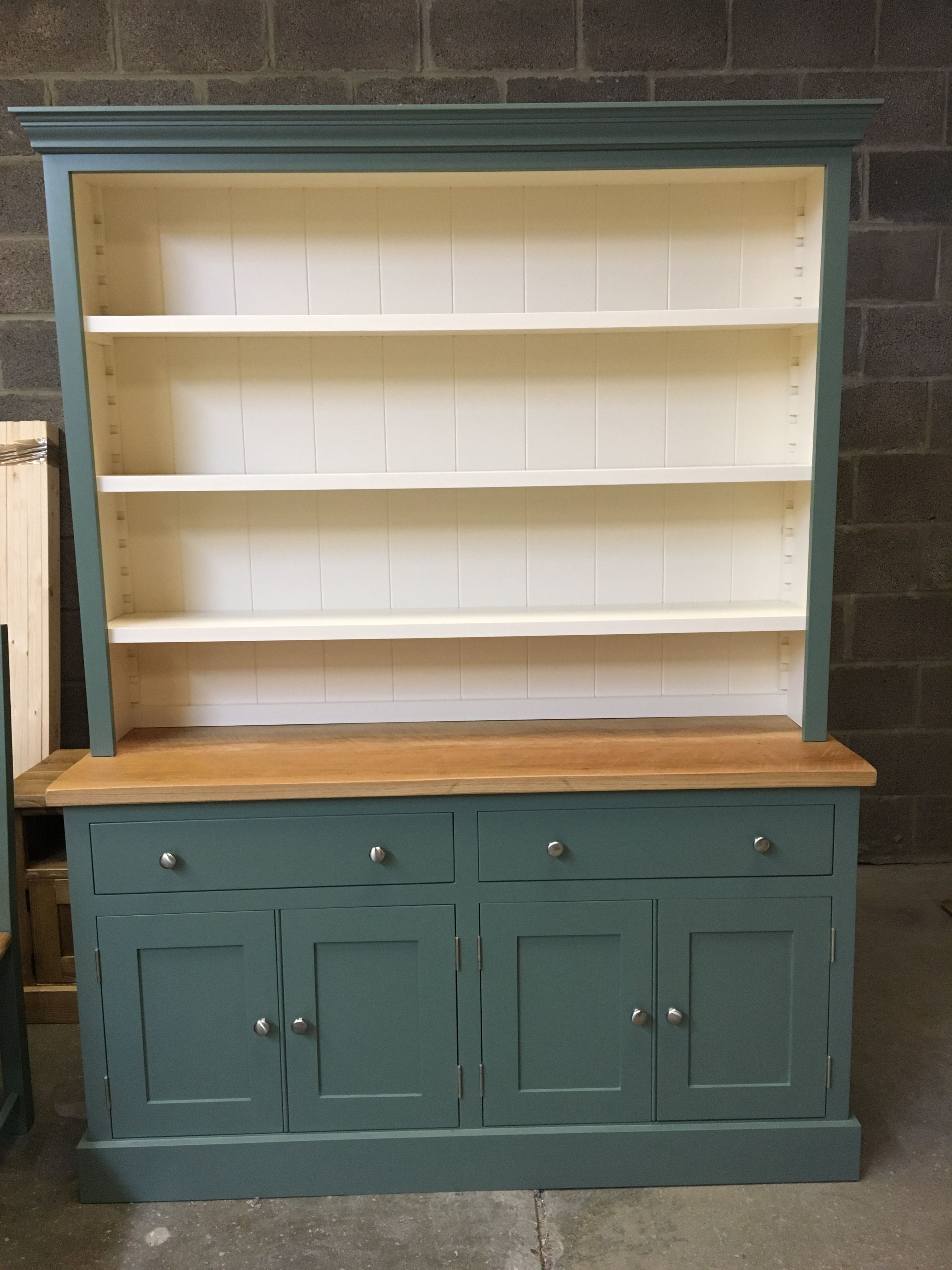 A Rack Dresser Painted In F B Green Smoke And New White With A Rustic Oak Top Cobwebs Furniture Company Recycled Furniture Painted Dresser Barn Kitchen