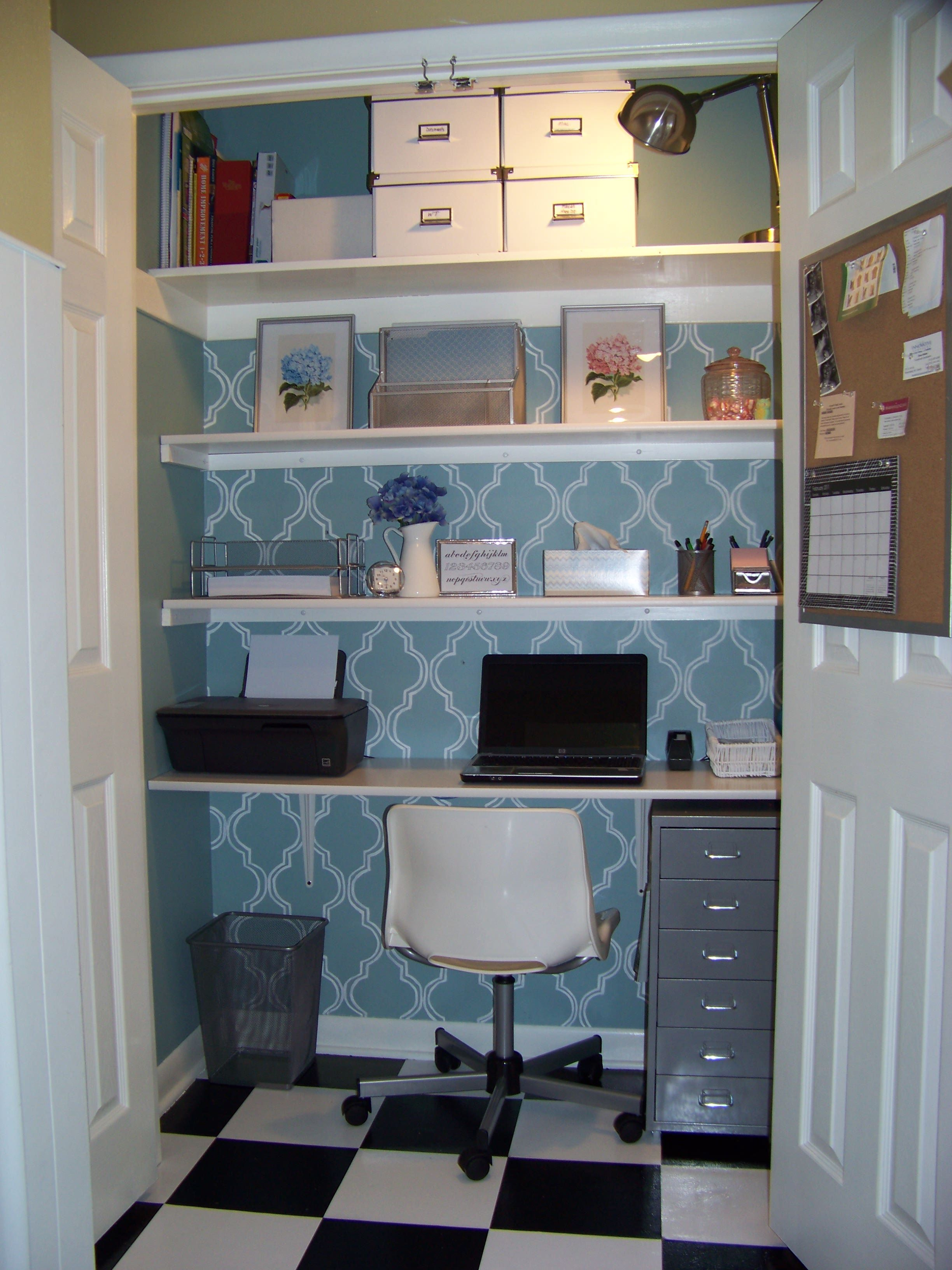 Craft Room Ideas On A Budget Closet Makeover Transform A Small - Basement home office design ideas