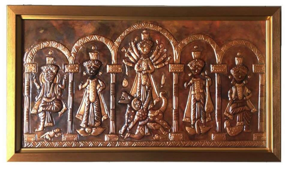 The Indian Goddess of Power, Durga, and her family