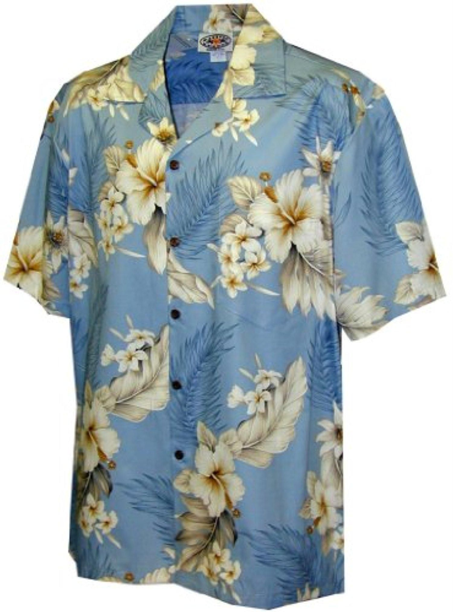 c004066a Pacific Legend Tropical Floral Hibiscus and Plumeria Hawaiian Shirt (2XL,  Blue) - Brought to you by Avarsha.com