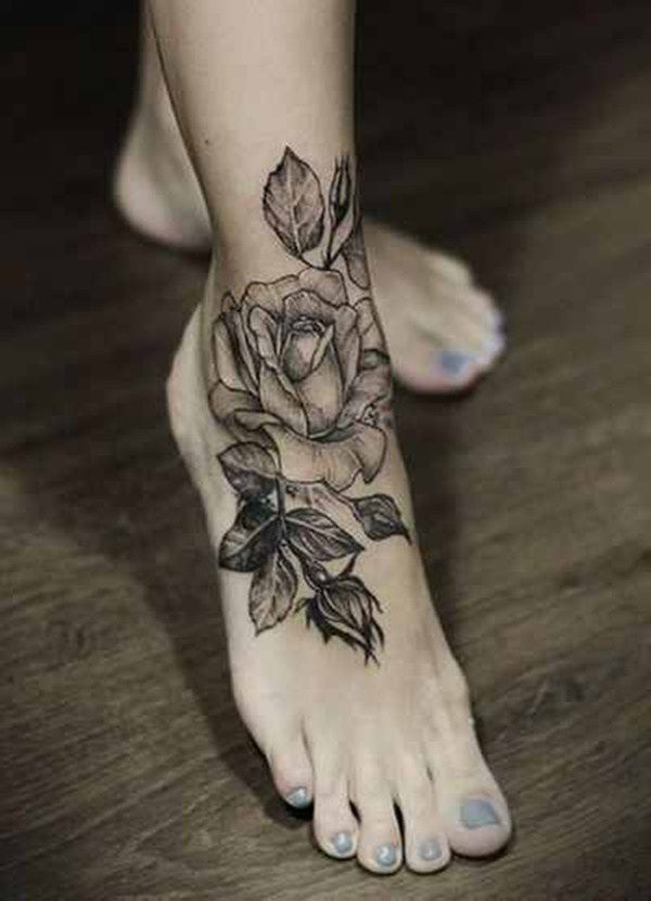 80 Beautiful Ankle Tattoo Design And Ideas For Women Tattoos Rose Tattoo Foot Rose Flower Tattoos