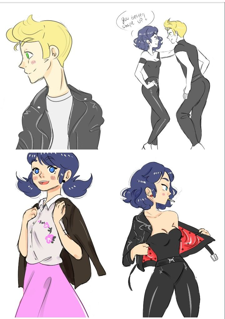 grease miraculous ladybug and chat noir