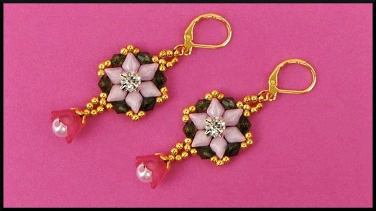 diy perlen ohrringe ohrschmuck basteln beaded gemduo flower earrin beaded earrings
