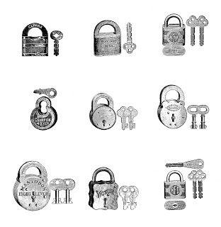 Digital Stamp Design: Free Printable Collage Sheet: 9 Antique Locks and Keys Digital Stamps
