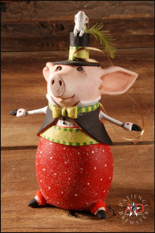 2012 Patience Brewster Krinkles, Pierre Pig Ornament