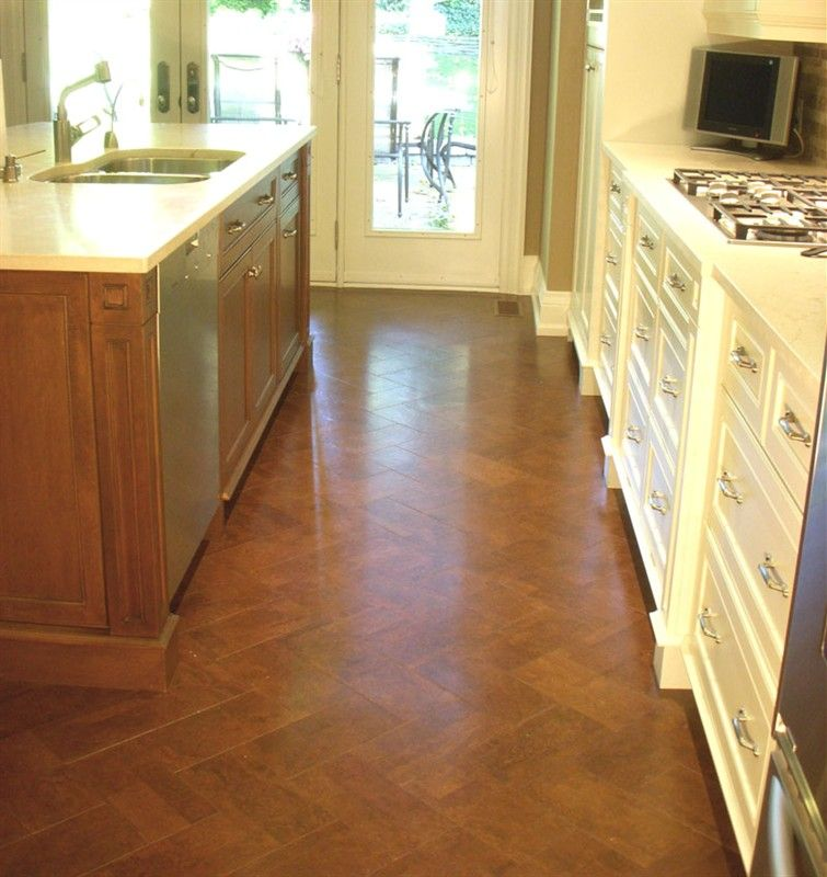 Cork floor herringbone pattern kitchens pinterest for Basement flooring options cork
