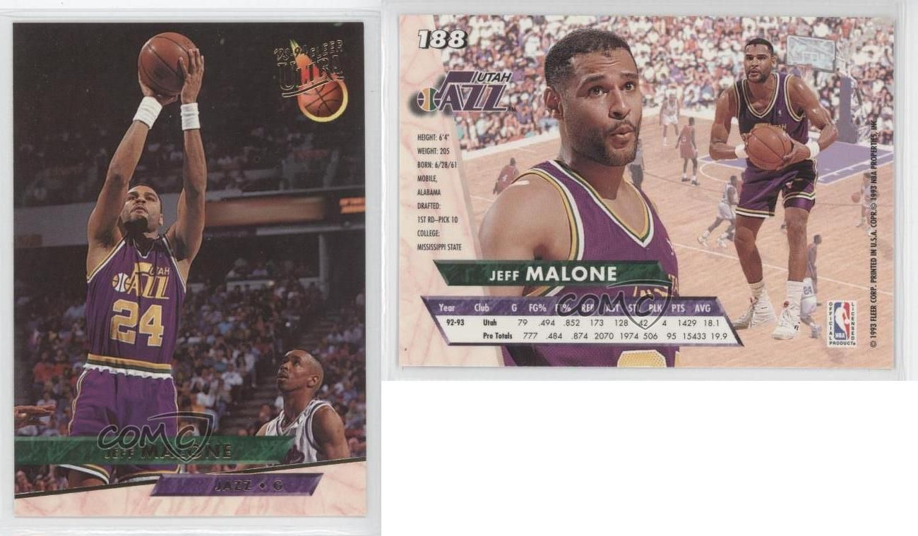 Details about 1993 94 Fleer Ultra 188 Jeff Malone Utah Jazz