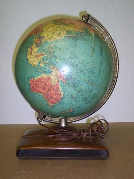 Globe Antique Internally Lighted Atlas Base Vintage Globe Lamps Globe Replogle Globe