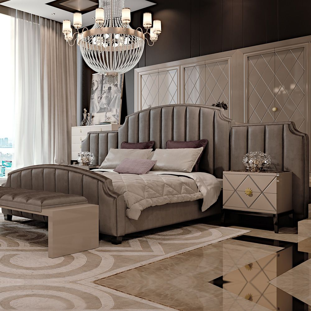 Best Art Deco Inspired High End Upholstered Bed With Extended 400 x 300