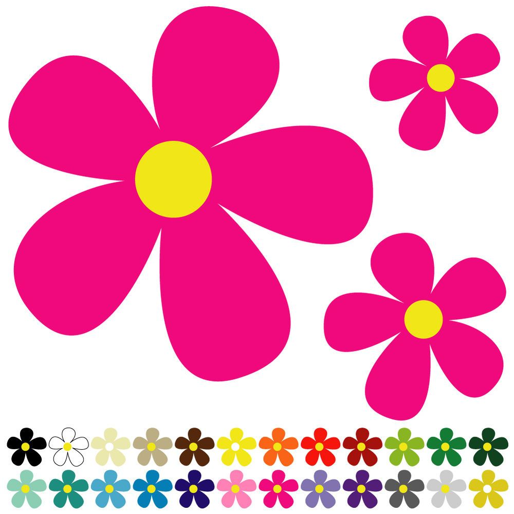 25 Daisy Flower Stickers Decals For Car Wall Home 38 Colours S6 Ebay Vw Bug Flower Car Wall Art Wall Stickers Cars [ 999 x 1000 Pixel ]