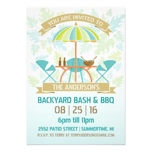 Retro Summer Party Invitation — Modern retro patio umbrella, table, and chairs with banners and tropical like leaf background. Great for your next BBQ, Pool Party, Beach Party, Family Reunion, or any summertime outdoor celebration. Original Illustration by pj_design.