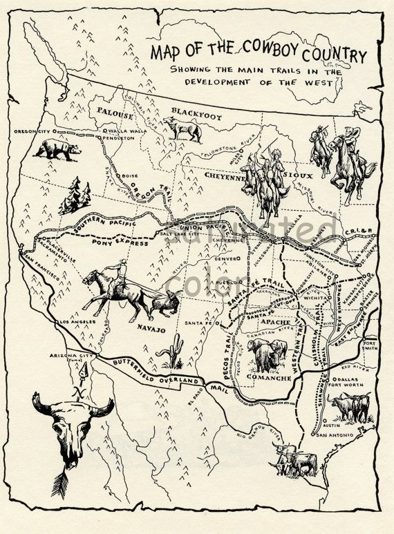 Vintage Cowboy Country Map Digital Image Download 1950s Map Of