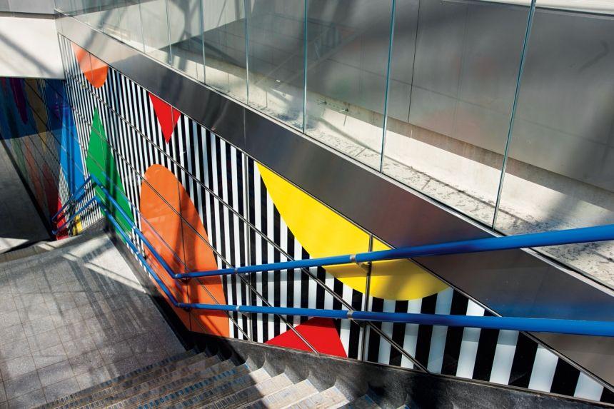Daniel Buren S Artwork Of Shapes Colours And Trademark Stripes Launches At Tottenham Court Road Artwork Daniel Buren Buren