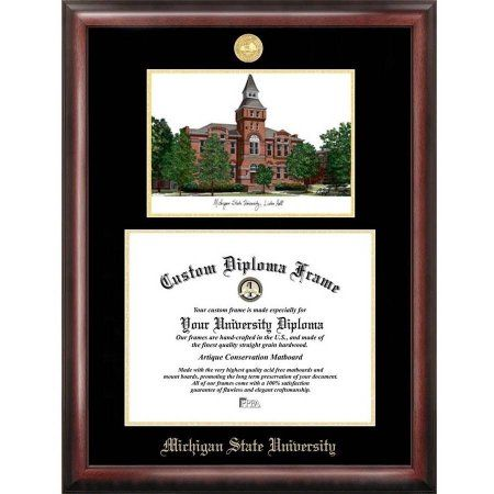 michigan state university linton hall 85 inch x 11 inch gold embossed diploma frame - Michigan State Diploma Frame