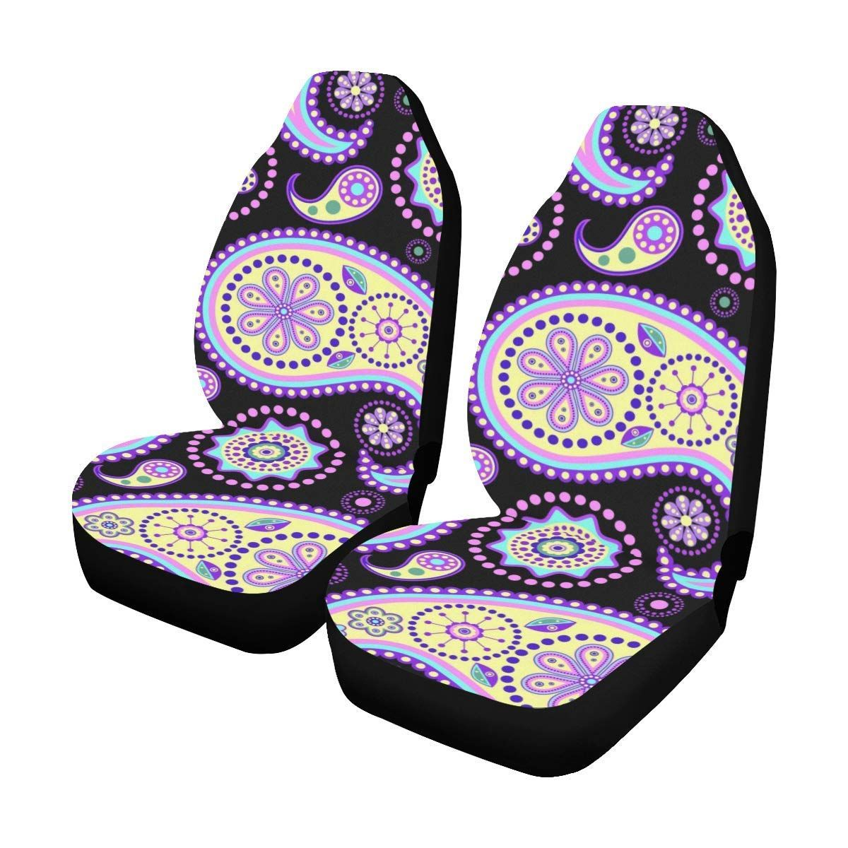 Polyester Fabric One Side Printing Protector Dust Proof Set of 2 InterestPrint Elephant Car Seat Covers