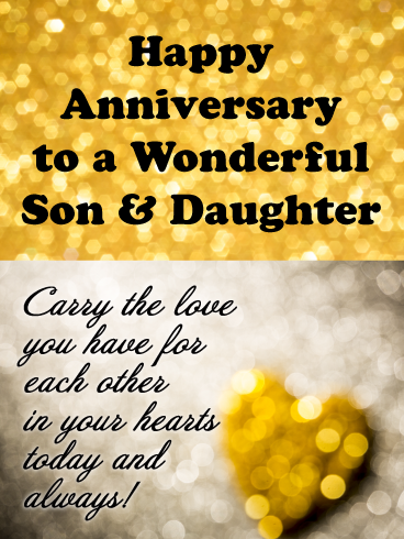 Sparkling Love Happy Anniversary Card For Son And Daughter Birthday Greeting Cards By Davia Happy Anniversary Quotes Happy Anniversary Cards Wedding Anniversary Wishes