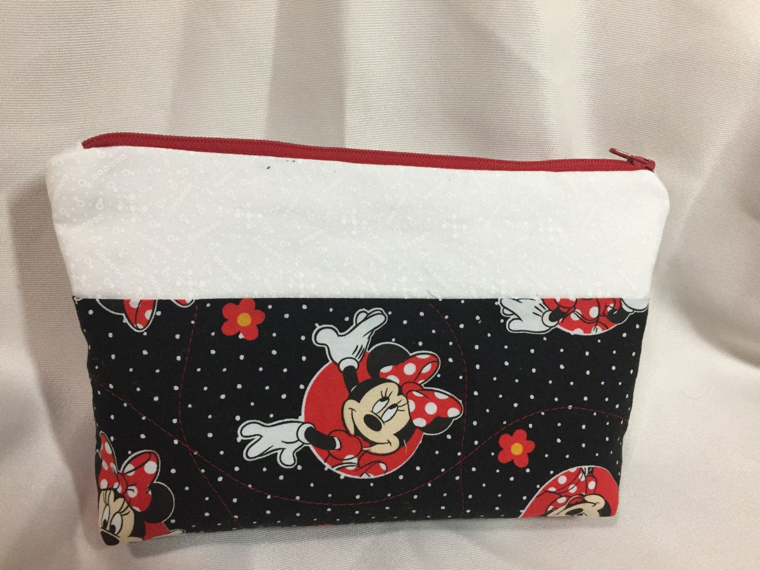 Minnie Mouse Black/Red/White Cosmetic/Make Up/Travel Bag by MommyMaryCrafts on Etsy