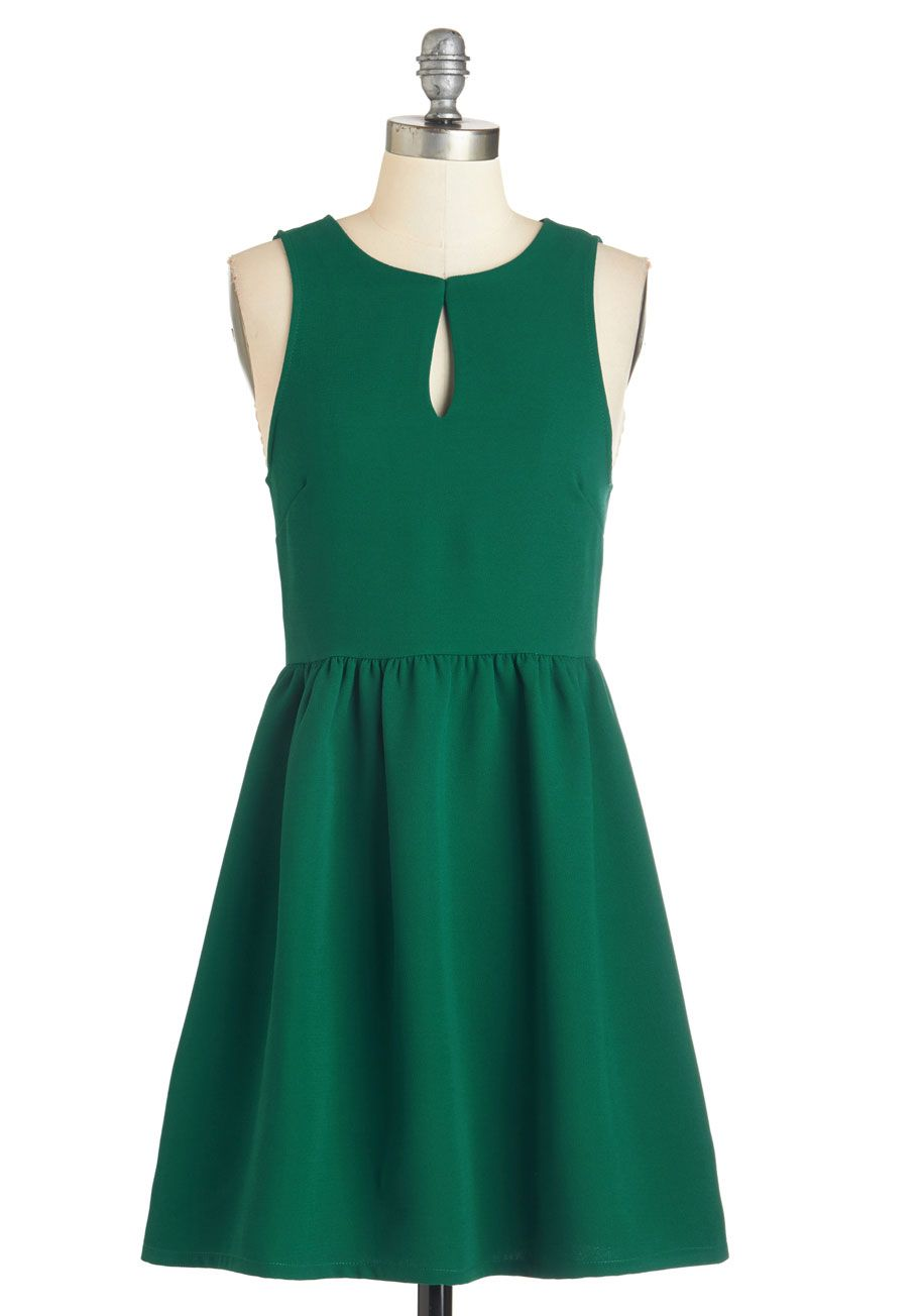Dress for the Occasion - Green, Solid, Cutout, Casual, A-line, Sleeveless, Fall, Winter, Woven, Mid-length