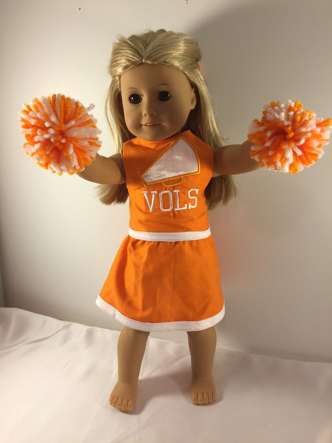 Orange and White with Tennessee Logo 18 Doll Cheerleading Outfit