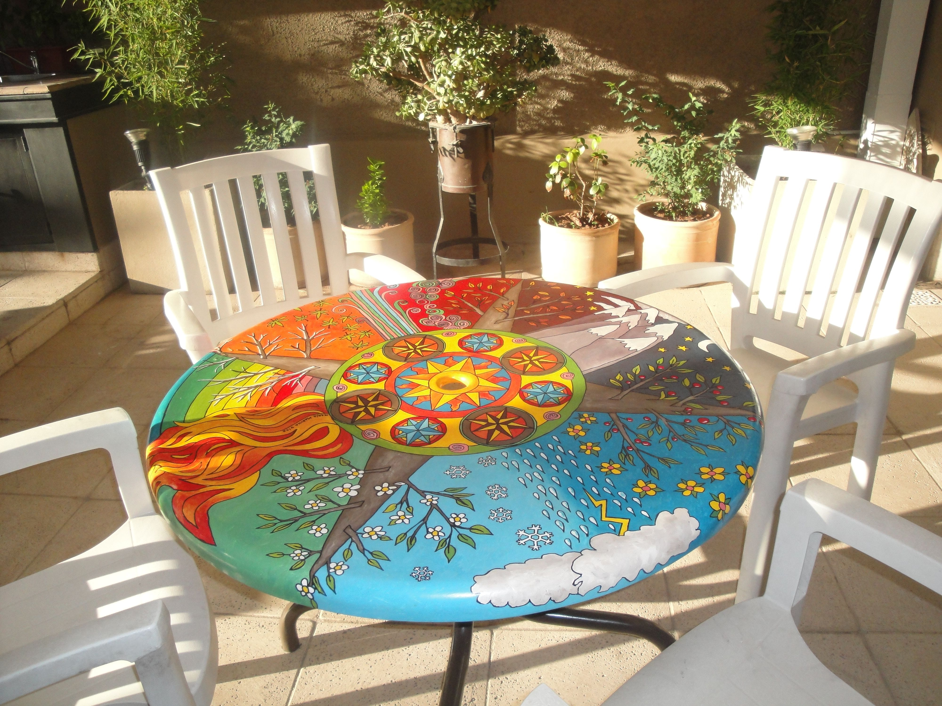 Mandala pintado sobre mesa de jard n autora maria martha diez mandalas pinterest for Articulos para decorar jardines