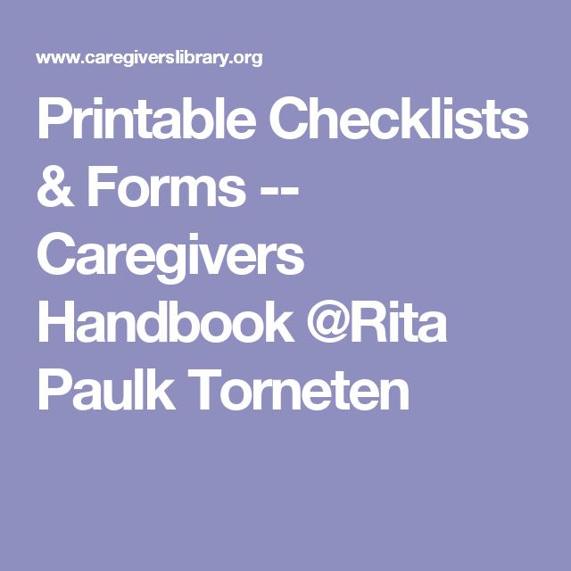 Printable Checklists Forms Caregivers Handbook Rita Paulk