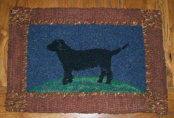 Black Labrador Retriever Dog Original Primitive Hand