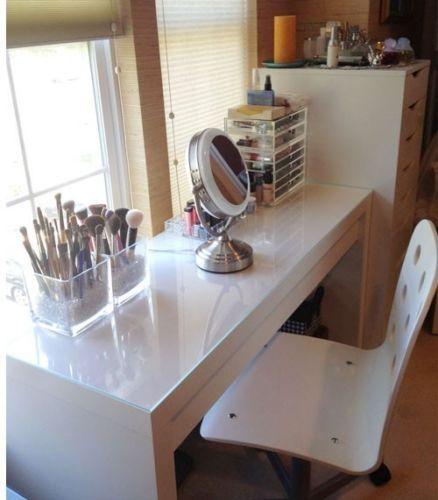Dressing Table with Drawer Modern White Vanity Make Up Table Desk ...