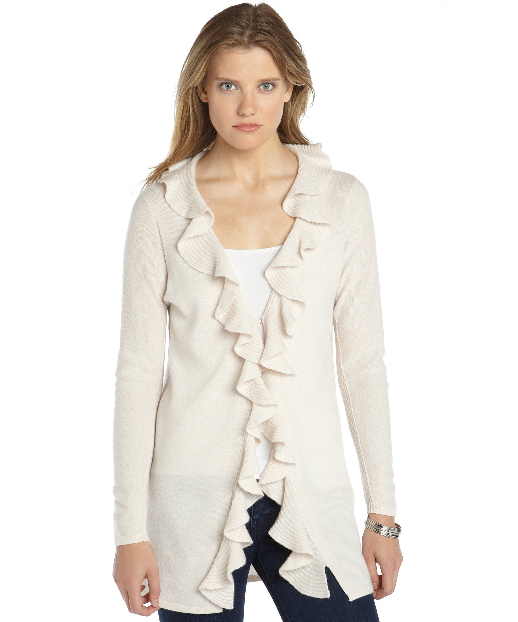 Magaschoni ivory cashmere knit ruffle front cardigan sweater ...