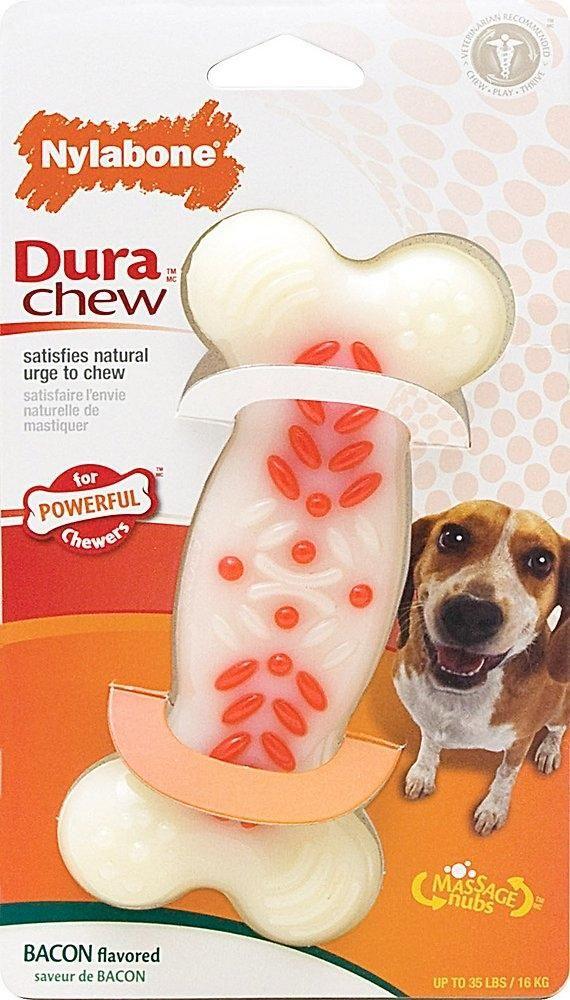 Nylabone Durachew Action Ridges Bacon Flavor Bone Dog Toy Bacon