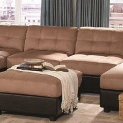 Sectional Sofa With Button Tufted Design Brown Microfiber Living