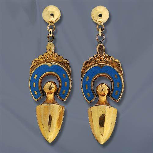 Victorian Horseshoe Motif Drop Earrings