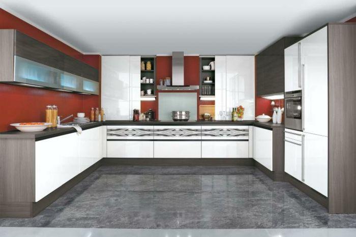 wandfarbe küche farbige wände bodenfliesen küchenschränke | Küche ...