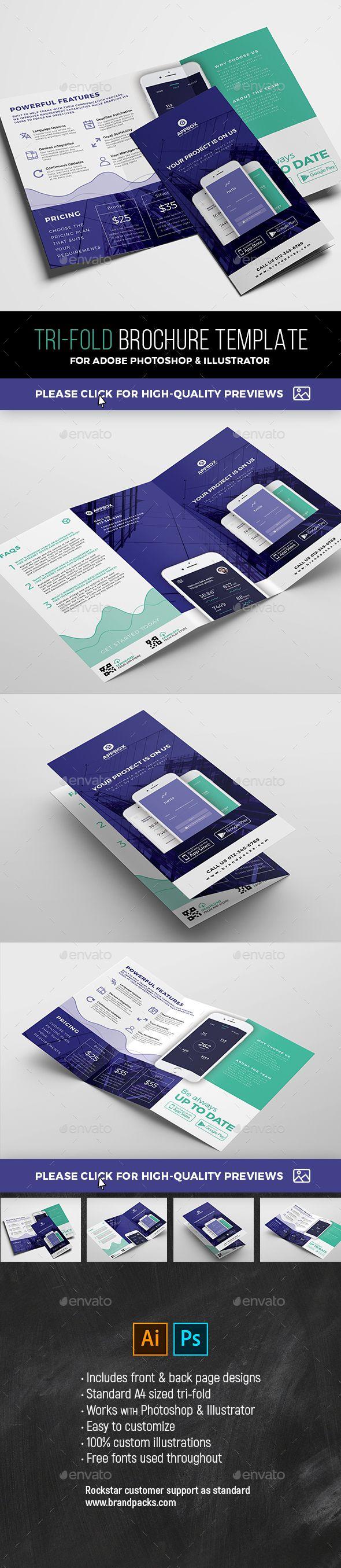 Mobile App Tri Fold Brochure Corporate Brochures Brochure