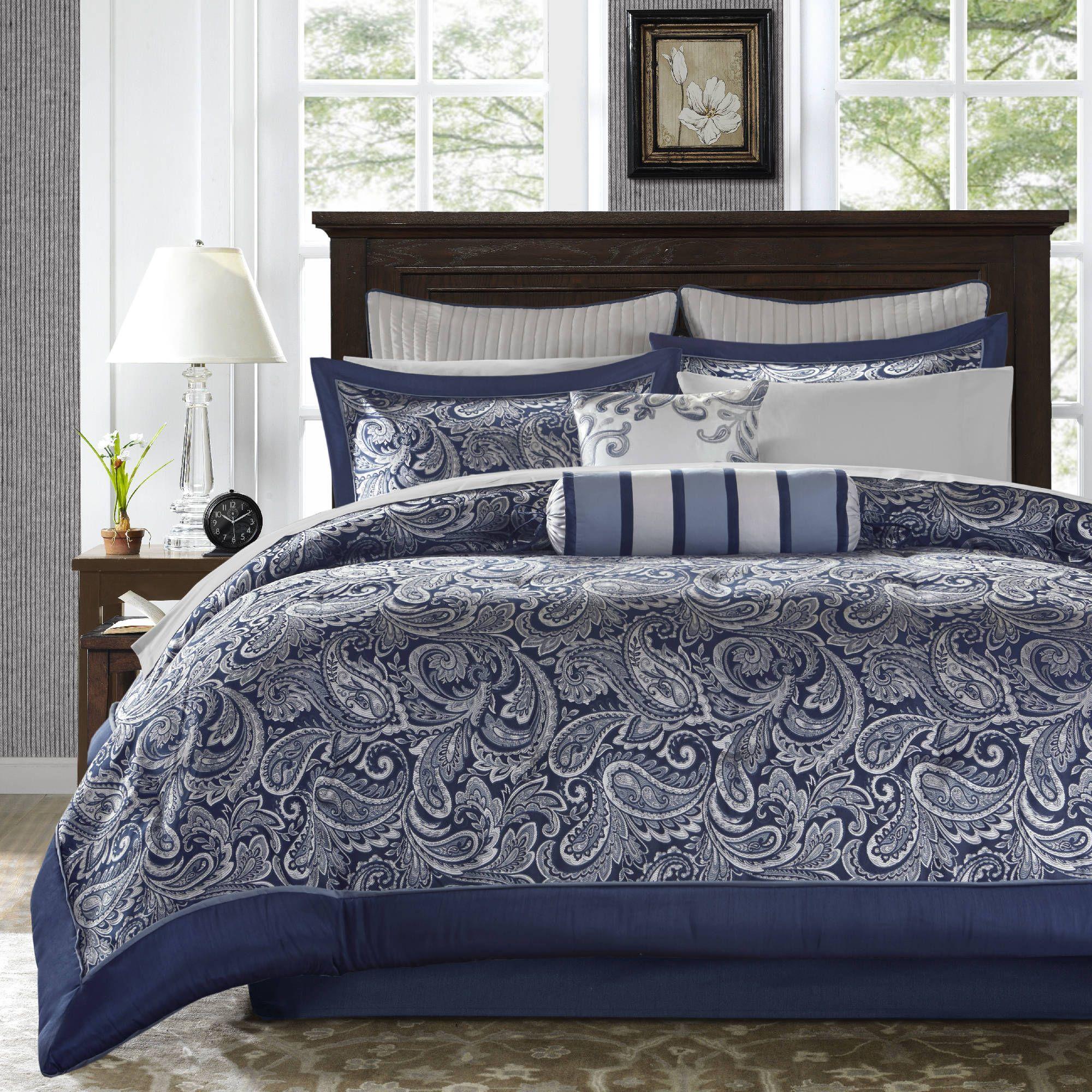 Madison Park Whitman Navy 12 Piece Complete Bed Set Luxury