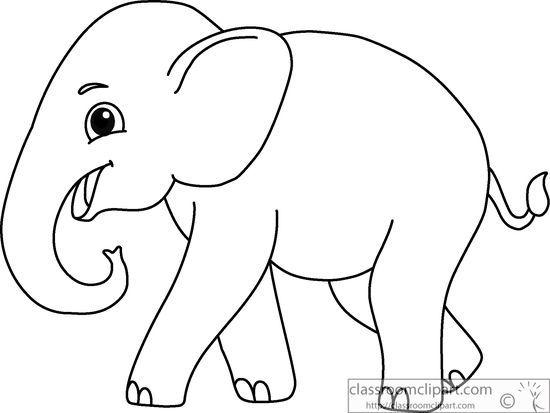 Animals : asian-elephant-black-white-outline-914