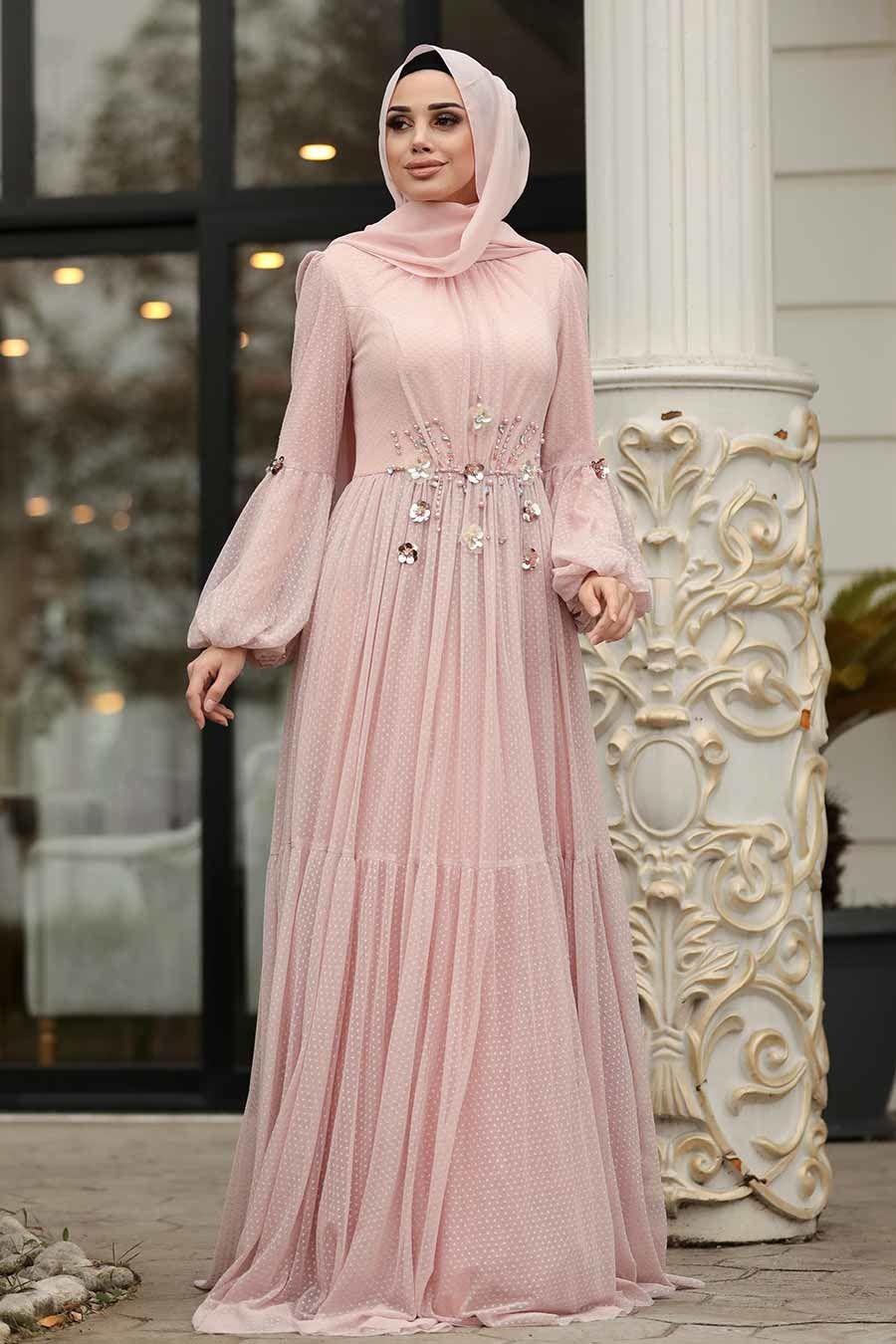 Tesetturlu Abiye Elbise Balon Kollu Pudra Tesettur Abiye Elbise 38940pd Tesetturisland Com Aksamustu Giysileri The Dress Elbise
