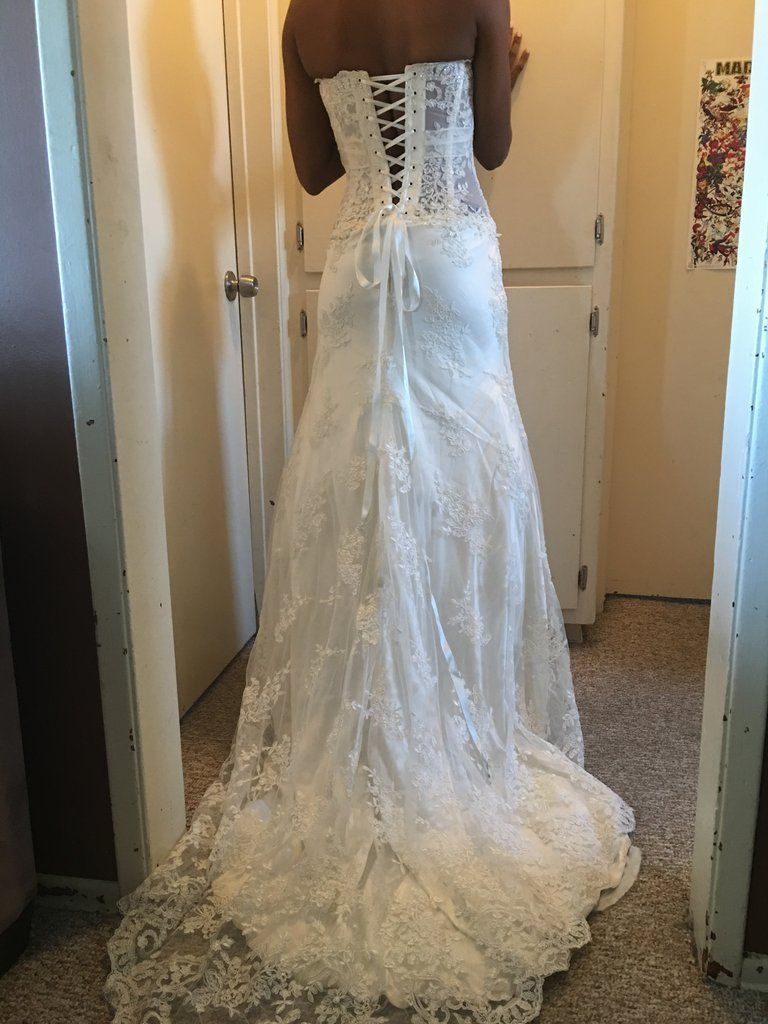 89504be837d Pnina Tornai  5165  size 4 used wedding dress back view on bride