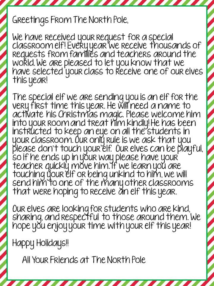 freebie letter from the north pole to introduce your classroom elf works for any grade boy and girl version available